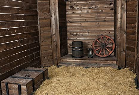 AOFOTO 10x7ft Wooden Hayloft Interior Background Vintage Rustic Western Barn Photography Backdrop Hay Straw Bales Old