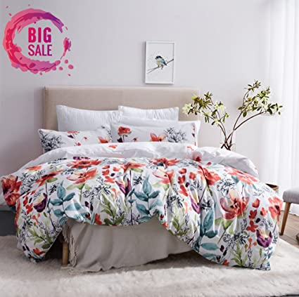 Leadtimes Flower Duvet Cover Set, Floral White Boho Hotel Bedding Sets With  Soft Lightweight Microfiber