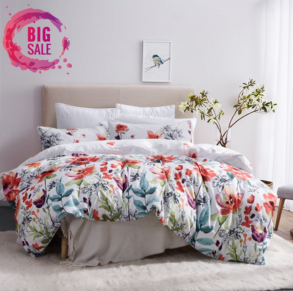 Leadtimes Flower Duvet Cover Set, Floral Boho Hotel Bedding Sets Comforter cover with Soft Lightweight Microfiber 1 duvet cover and 2 Pillow Shams by (Queen, Style2)