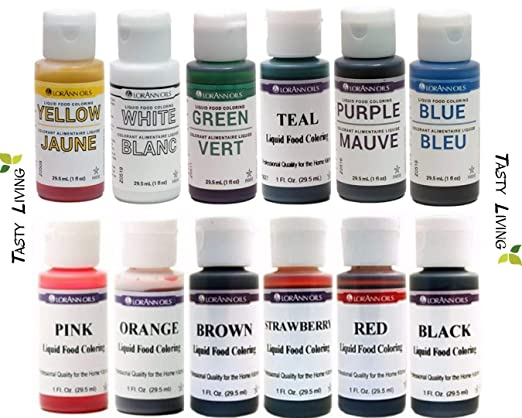 Tasty Living Set of LorAnn Extra Strength Liquid Food Coloring Decorating  Baking kit - 12 Color Variety Kit in 1 fl. oz. (29.5ml) Easy-to-use squeeze  ...
