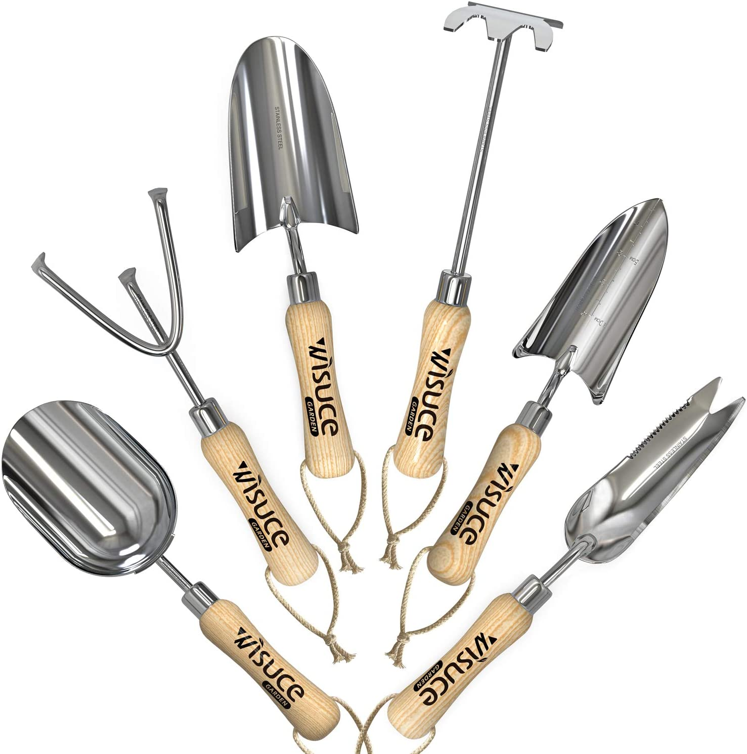 Wisuce Garden Tool Set, 6 Piece Heavy Duty Gardening Kit Includes Shovel, Transplanter, Soil Scoop, Weeder, Hoe and Cultivator with Wood Handle Gardener Gift Idea for Women and Men