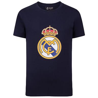 4ec8a4e7997d8 Real Madrid Camiseta Oficial Para Niños - con el Escudo del Club - Azul  Marino -