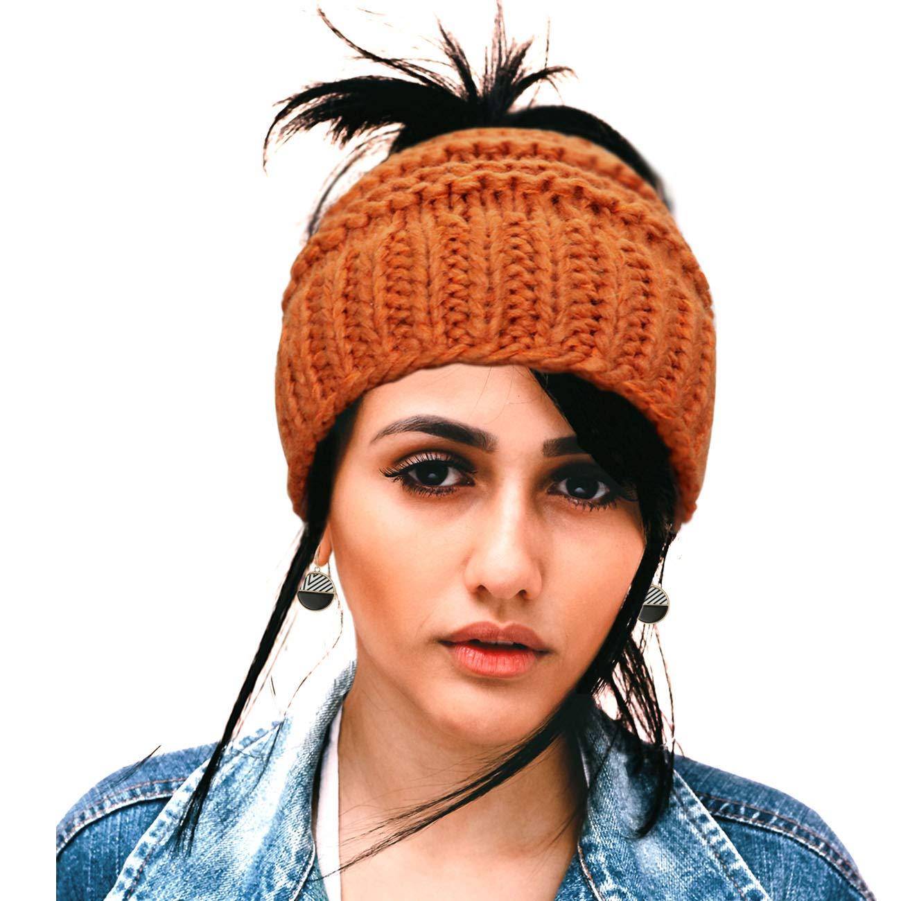 Women s Ponytail Beanies Messy Bun Winter Crochet Knit Beanie Hats  BeanieTail with Ponytail Bun Hole for Women Girls Orange 1a1eae2e5df