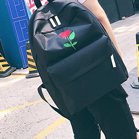Amazon.com | Remiel Store Women Girls Embroidery Flowers Canvas School Bag Travel Backpack Bag (Black 1) | Kids Backpacks