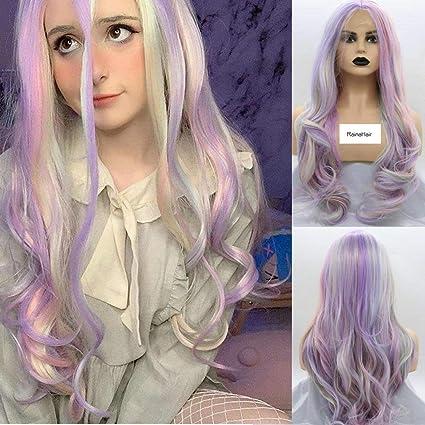 RainaHair Peluca de sirena pastel, 66 cm, mezcla de lila, naranja, verde pastel, rubio claro, encaje frontal, peluca larga, ondulada, resistente al calor, pelucas sintéticas, color cálido: Amazon.es: Belleza