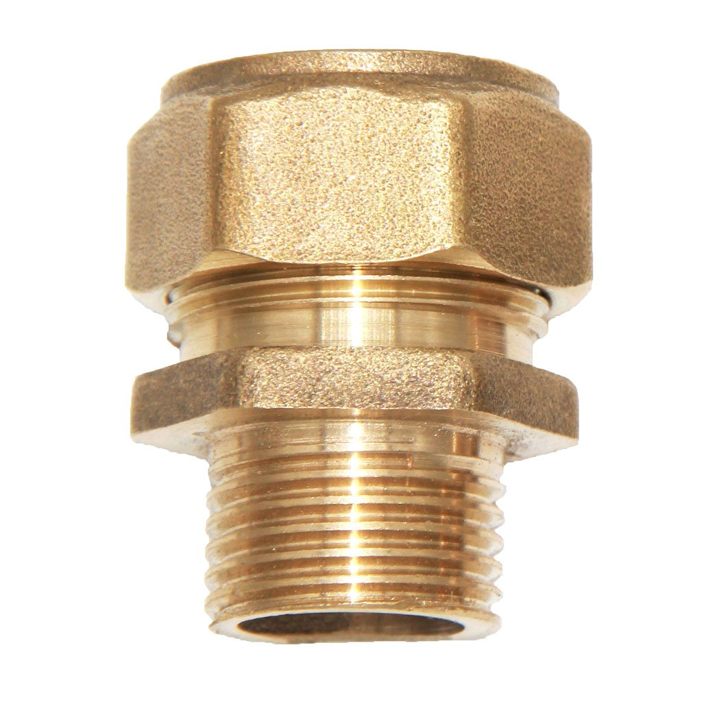 Dovewill Solid Brass Screw Thread Compression Composite Male Aluminum Pipe Threaded Coupler Connector Adapter - Yellow, S32 1''