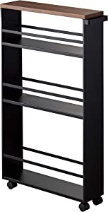 YAMAZAKI home 3628 Tower Rolling Slim Storage Cart with Handle Black