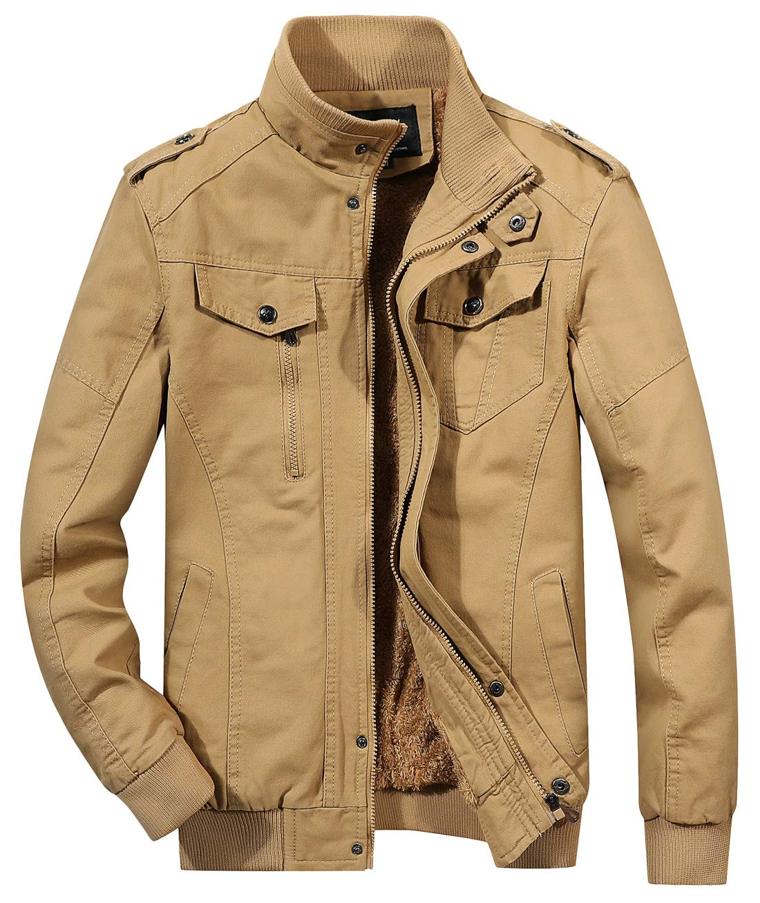Chouyatou Men's Winter Sherpa Lined Zip-Front Insulated Outerwear Bomber Jacket (X-Large, 12Khaki)