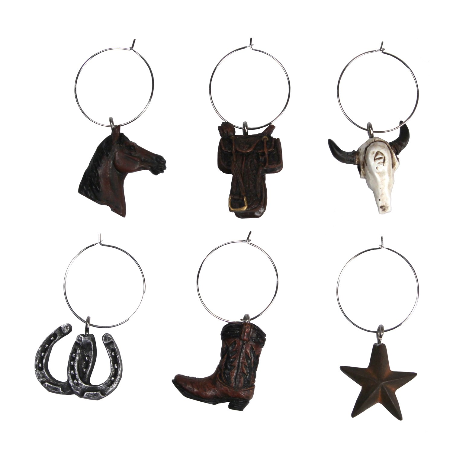 River's Edge Products REP 6 Piece Western Wine Charms 194
