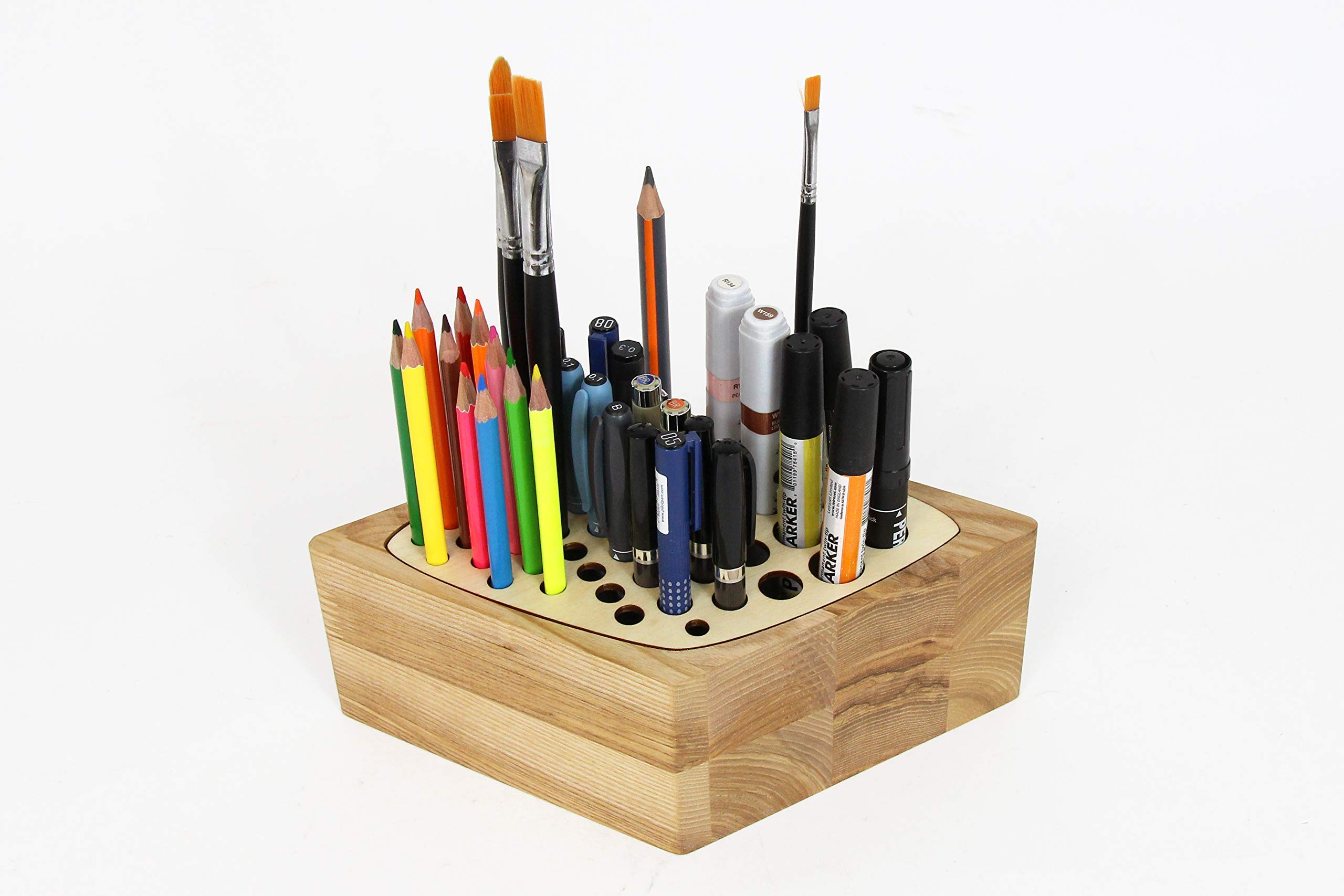 Handmade Wooden Pencil Holder 8.7 x 5.3 x 3.2 inches