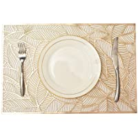 MLADEN Rectangle Placemats Set of 6, Leaf Functional Table Mat for Dining Kitchen Restaurant Table Decoration (Gold)