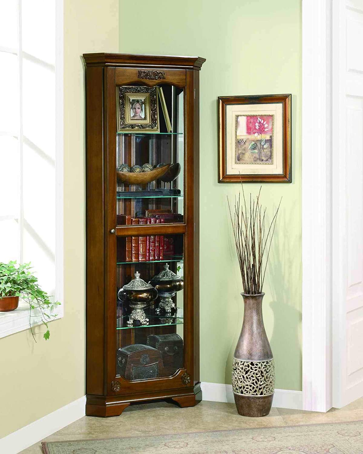 5-Shelf Glass Door Curio Cabinet - Walnut Brown cc18007
