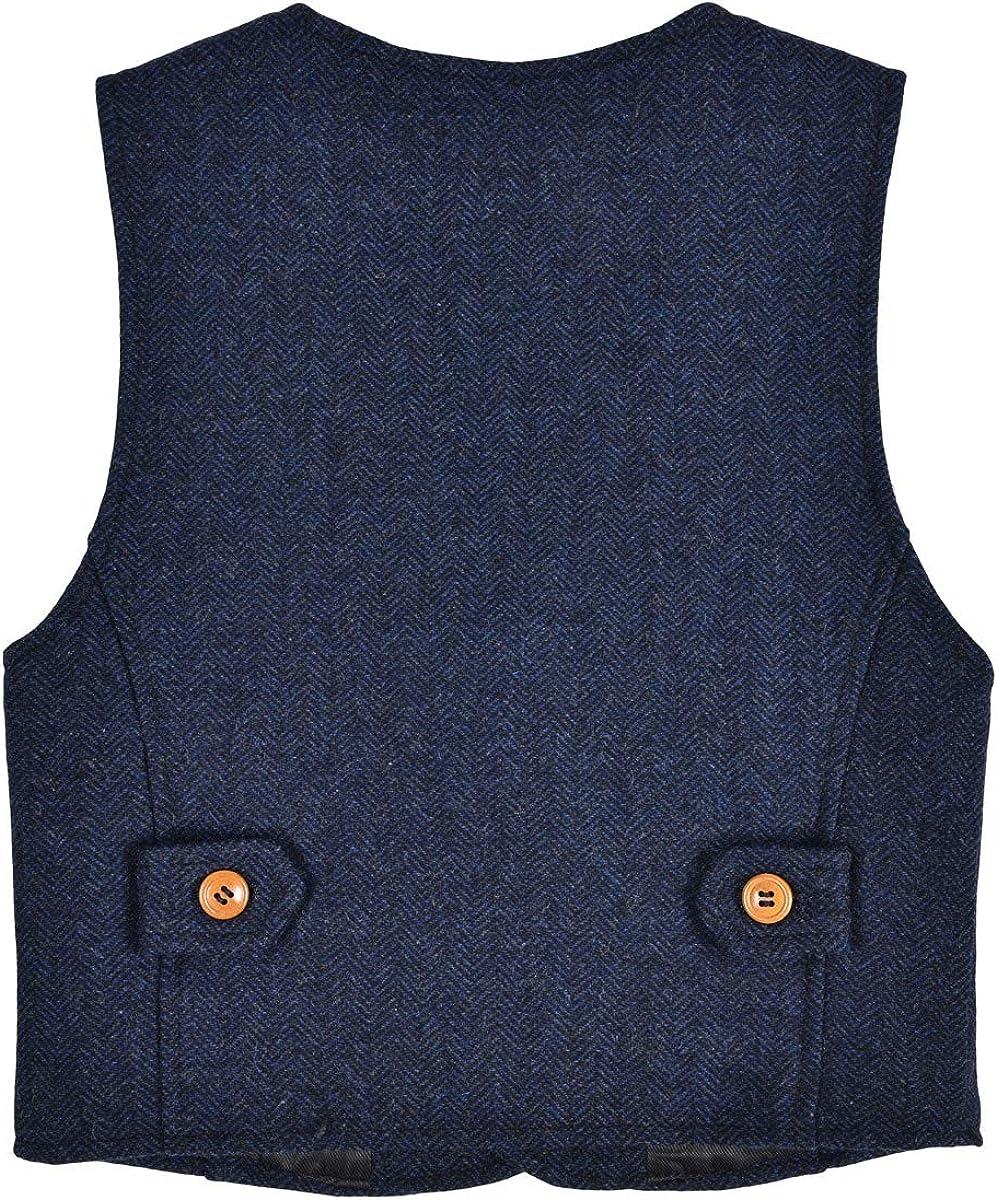 JANGOUL Boys Girls Herringbone Tweed Suit Vest Irish Wool Blend Waistcoat for Baby Toddler Kids