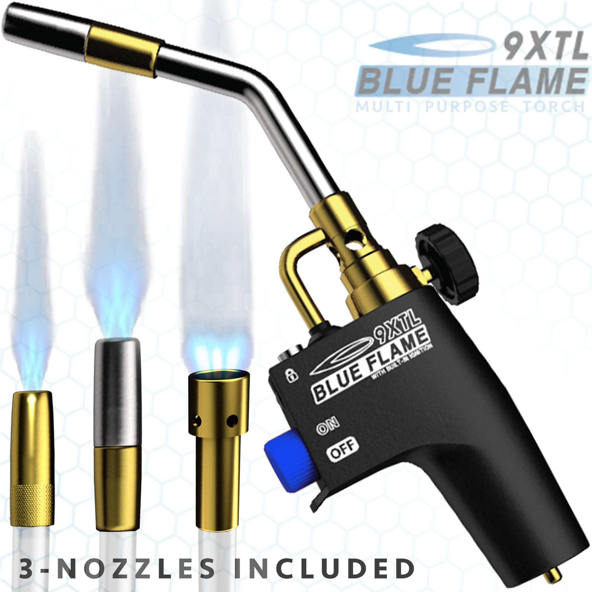BLUE FLAME 9XTL - Multi Purpose Mapp & Propane Torch | Includes 3 - Nozzles/Tips | Built-In Ignition | Flow Regulator & Flame Lock by FRCTL