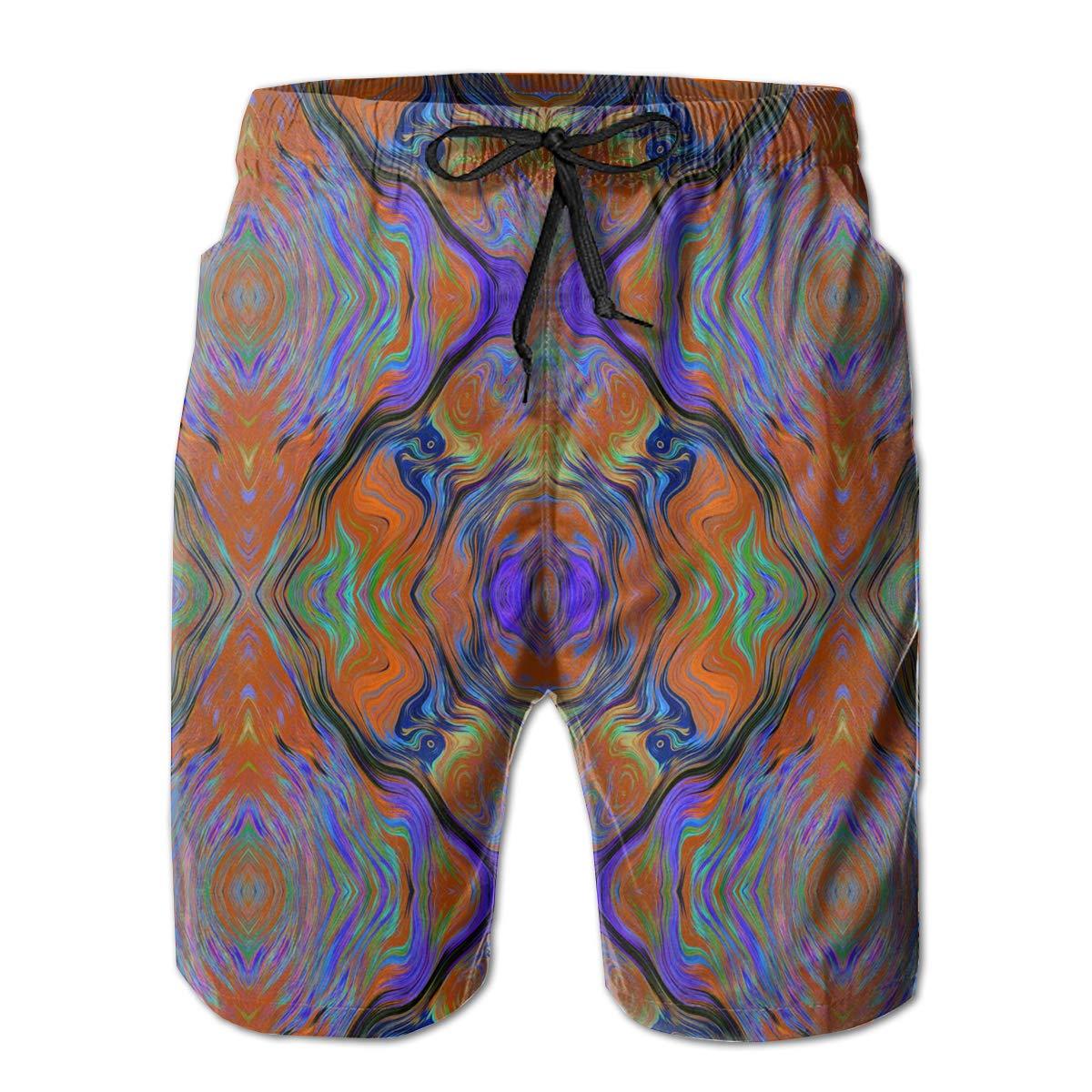 WMDJEG Lava LAMP Purple Orange Burnt Mens Summer Beachwear Sports Running Swim Board Shorts Mesh Lining