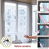 FISTE Window Insect Screen Netting Mesh,2 Pack 1.3 x 1.5M Insect Mosquito Door Velcro Tape White