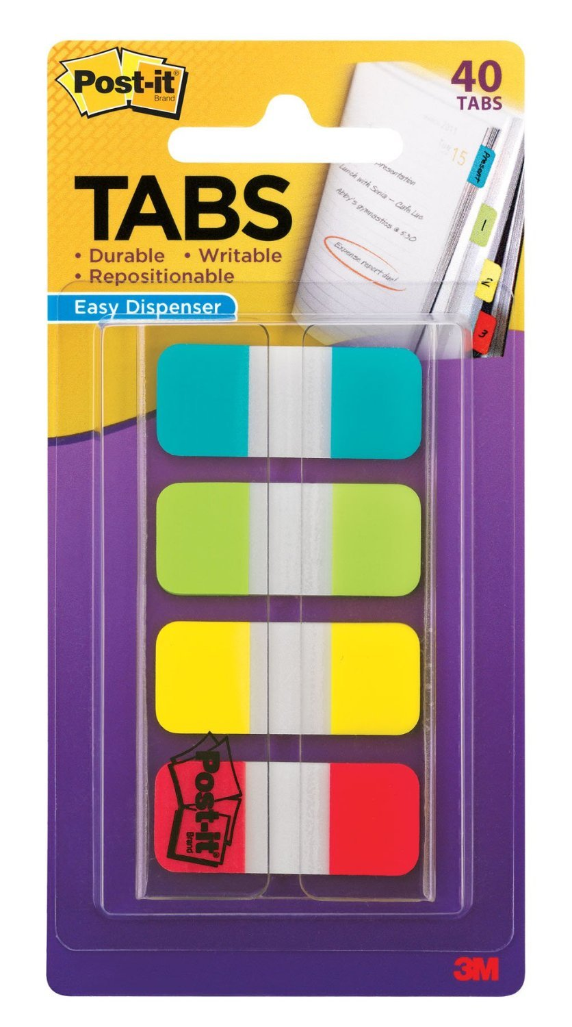 Post-it Tabs, .625 x 1.5 Inches, 4 Colors, 10/Color, 40/Dispenser, 6-PACK