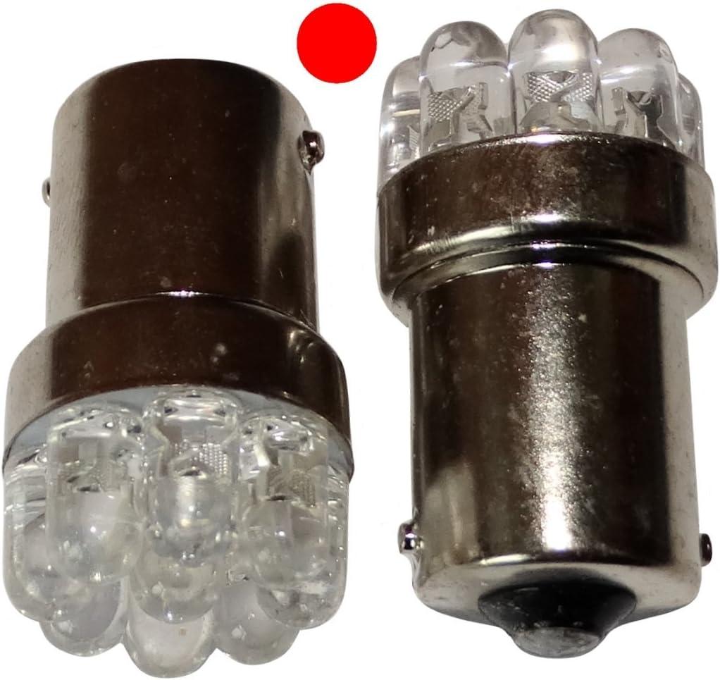 AERZETIX: 2 x Bombillas 24V P21W R10W R5W 9LED rojo para camion semirremolque puerta de garaje portal