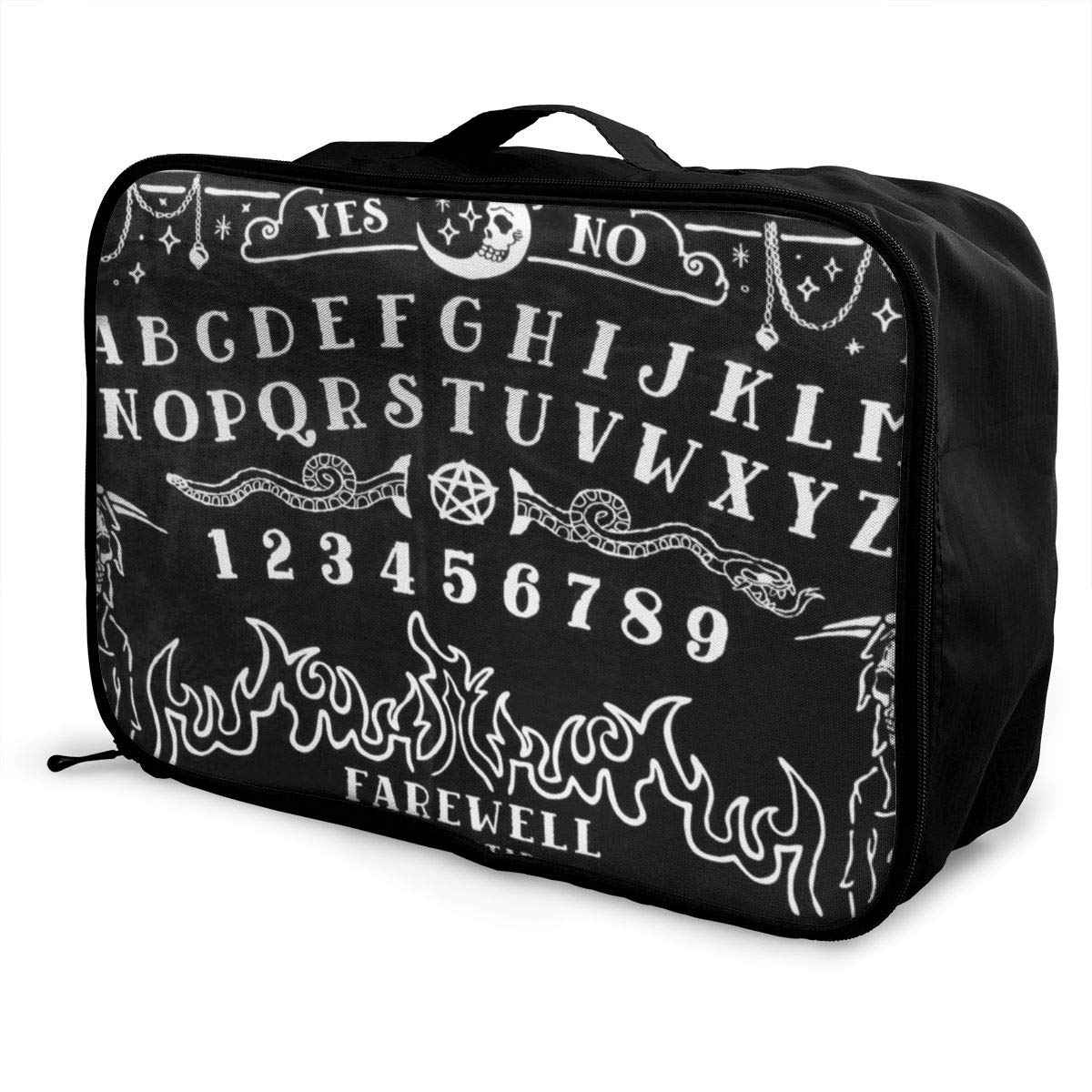 Witch Board Black Gothic Skull Travel Lightweight Waterproof Foldable Storage Portable Luggage Duffle Tote Bag Large Capacity In Trolley Handle Bags 6x11x15 Inch