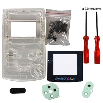eJiasu Reemplazo Completo Reemplazo de Carcasas Shell Pack Reemplazo para Nintendo GBC Gameboy Color (Funda transparente con lente y destornillador)