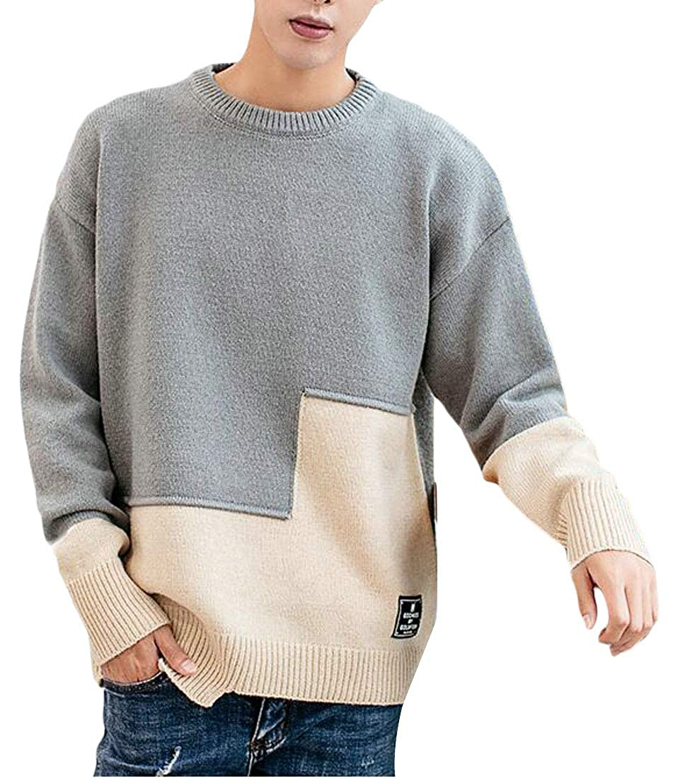 Cromoncent Mens Trendy Cozy Knits Round Neck Contrast Colors Pullover Sweaters