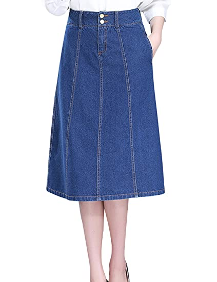 a9aa3b722f Tanming Women s High Waist A-Line Long Midi Denim Jean Skirt (X-Small