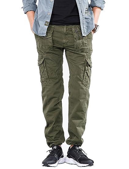 Belloo Herren Freizeit Baumwolle Casual Pants Regular Fit Arbeit Cargo Hose mit Vielen Taschen