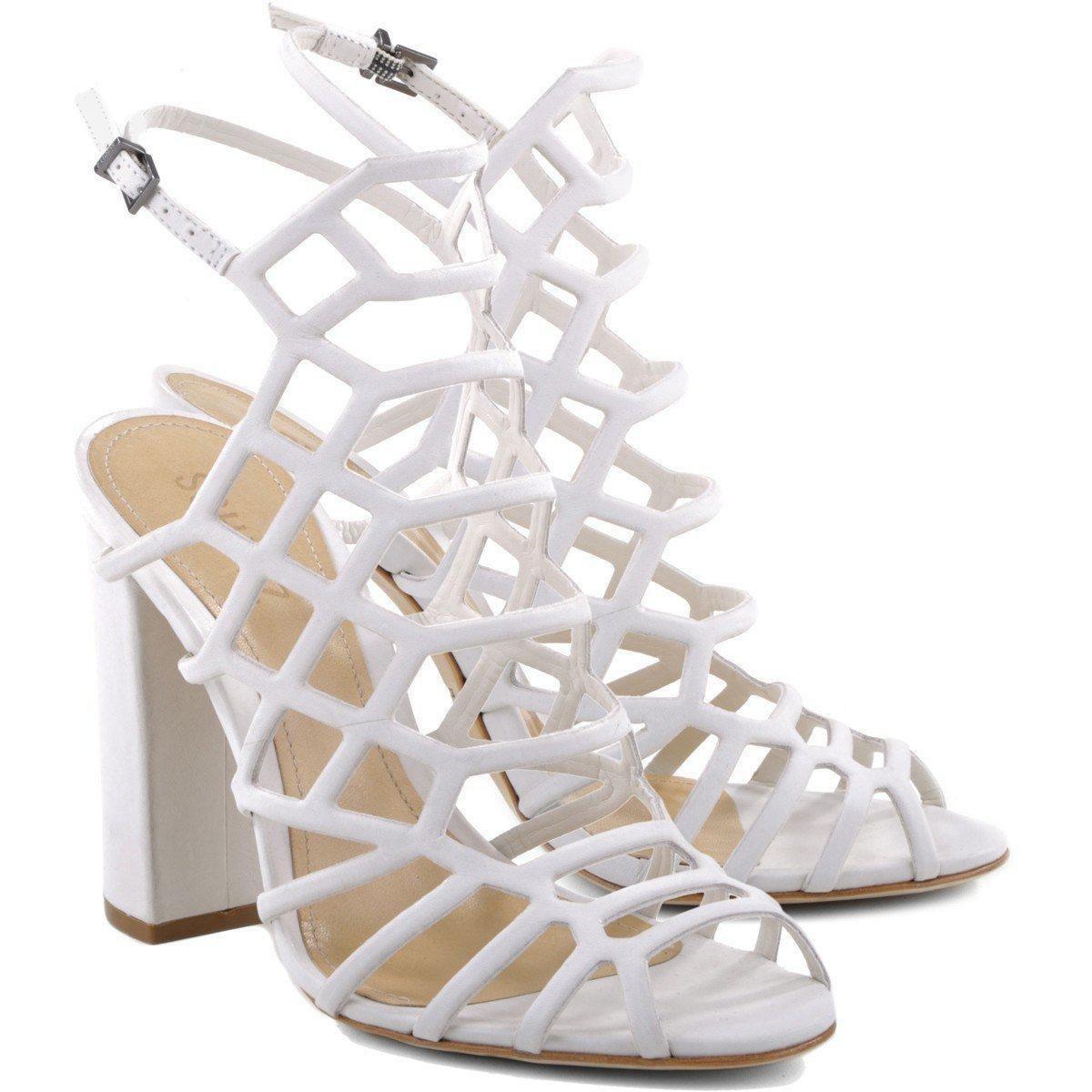 SCHUTZ Womens Jaden Dress Sandal Pearl White Leather Caged Block Heel