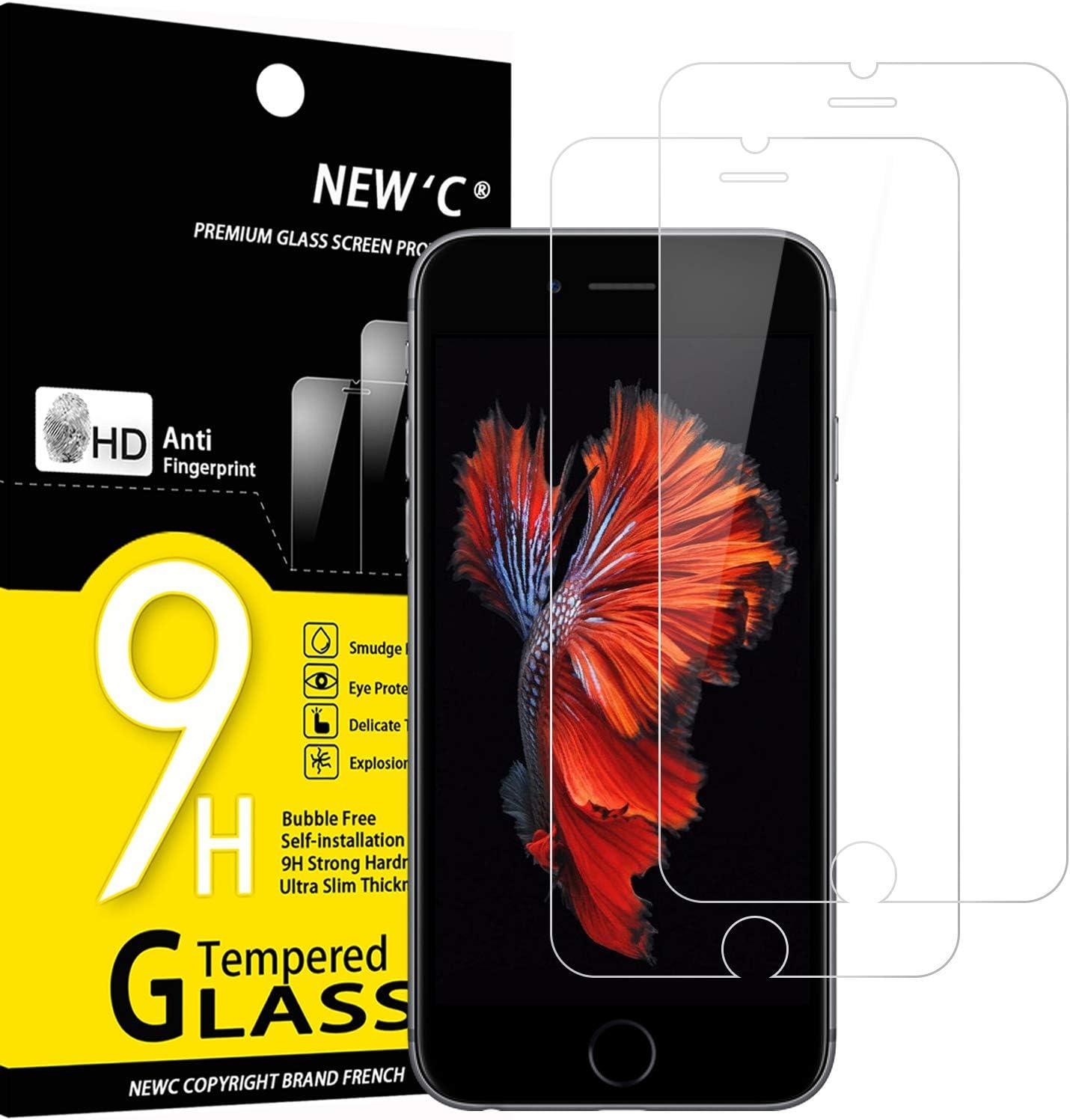 NEW'C 2 Unidades, Protector de Pantalla para iPhone 6 y iPhone 6S, Antiarañazos, Antihuellas, Sin Burbujas, Dureza 9H, 0.33 mm Ultra Transparente, Vidrio Templado Ultra Resistente