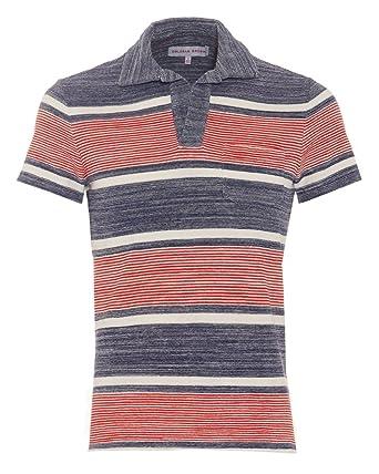 6855fa811 Orlebar Brown Mens Terry Ronald Stripe Polo Shirt, Pacific Ecru Red Polo:  Amazon.co.uk: Clothing
