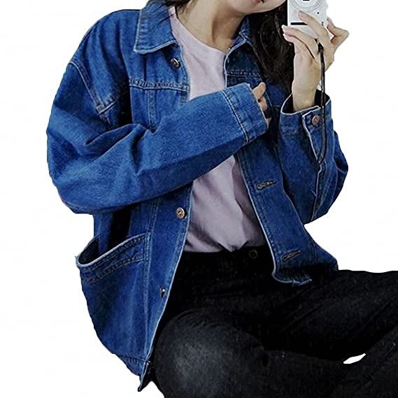 Womens Denim Jacket Jeans Coat Cowboy Women Denim Jackets Big Pockets Jacket Female 2 Colors Chaquetas Mujer Long Sleeve Loose Coats Casaco Feminino Spring ...