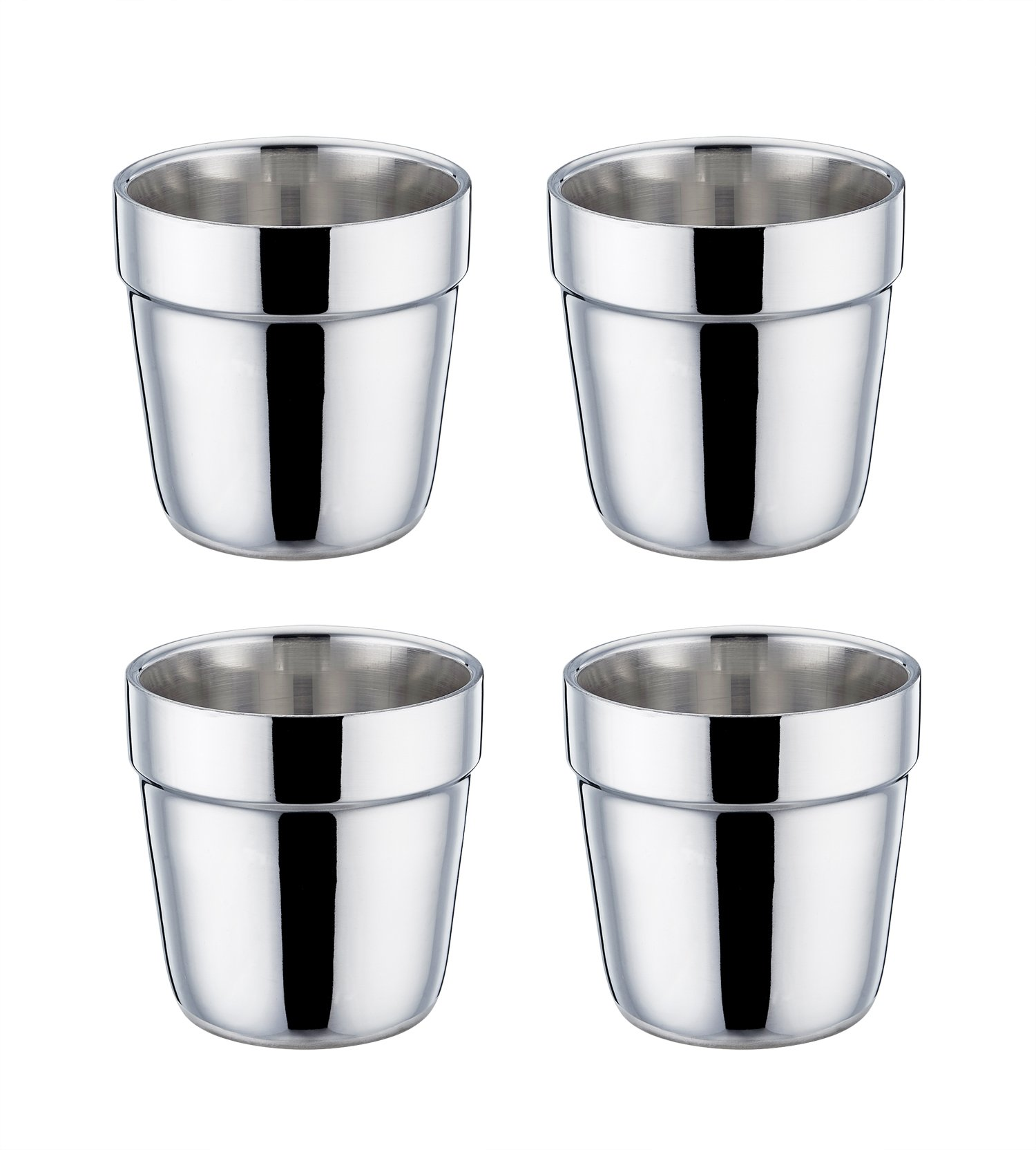 TeamFar Coffee Cup Espresso Cup Mug Set of 4, Double Wall Stainless Steel Tea Cups, Reusable & Stackable, Mirror Finish & Dishwasher Safe - 6 Ounce by TeamFar