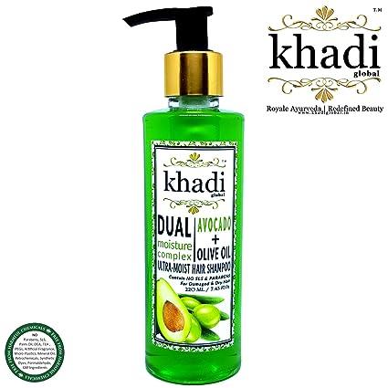 Khadi Global - Champú de doble humedad para el cabello ultra húmedo con aceite de aguacate