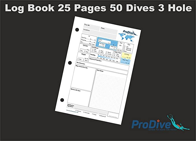 Scuba Diving Dive Log Book sheets inserts refills 50 dives 25 pages