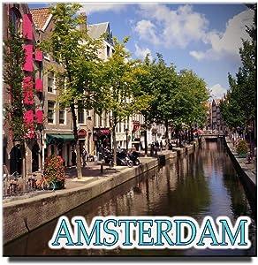 "Amsterdam square fridge magnet 2 1/3"" x 2 1/3"" Netherlands travel souvenir"