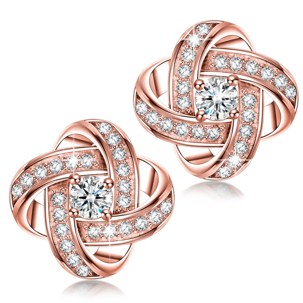 166d7d563ffef Alex Perry Women Pierced Stud Earrings Satellite Collection Rose Gold  Plated Cubic Zirconia Christmas Gifts Jewellery for Birthday Anniversary  Valentine s ...