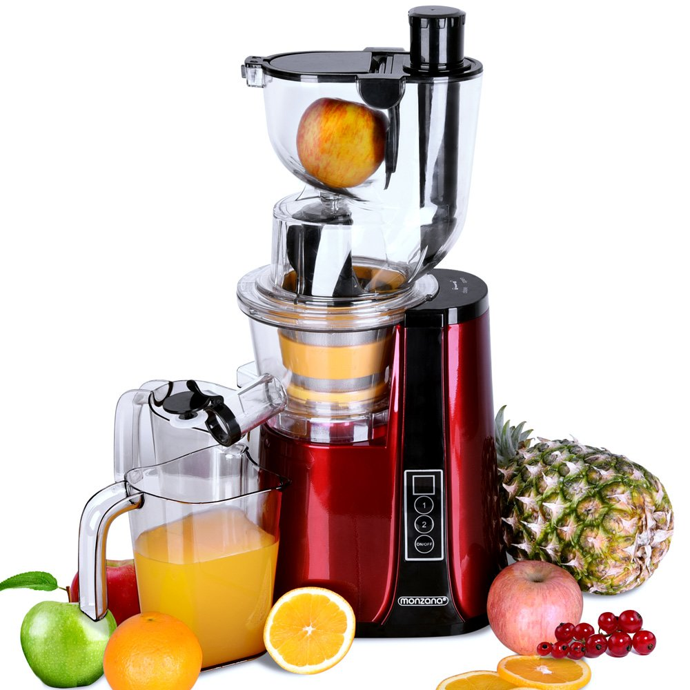 Monzana PRO-Vitamin Slow Juicer Masticating Whole Fruit & Vegetable Extractor Cold Press 500 Watt 81mm Big Mouth Juicers Reverse Function High Nutrient Juicers