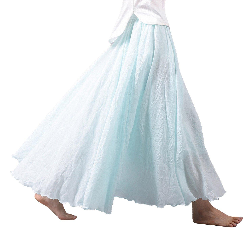 Vanbuy Women's Bohemian Style Elastic Waist Band Cotton Linen Long Maxi Skirt Z02-Waterblue