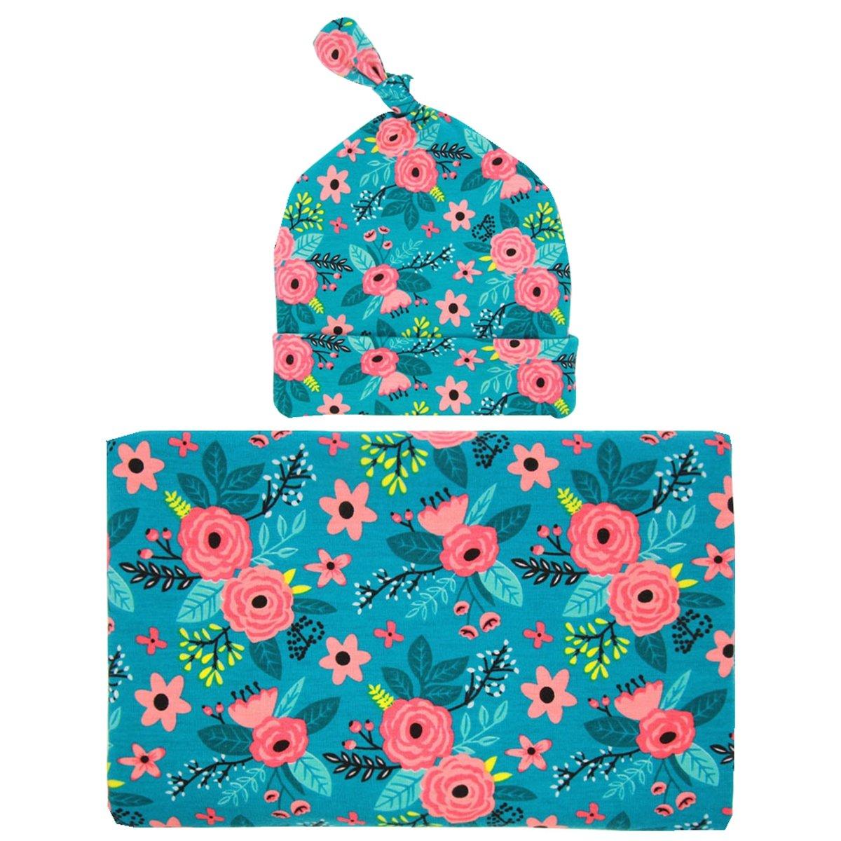 Newborn Hospital Hat Doughnut Swaddle Blanket Hat with Receiving Blanket Set Czofnjesi