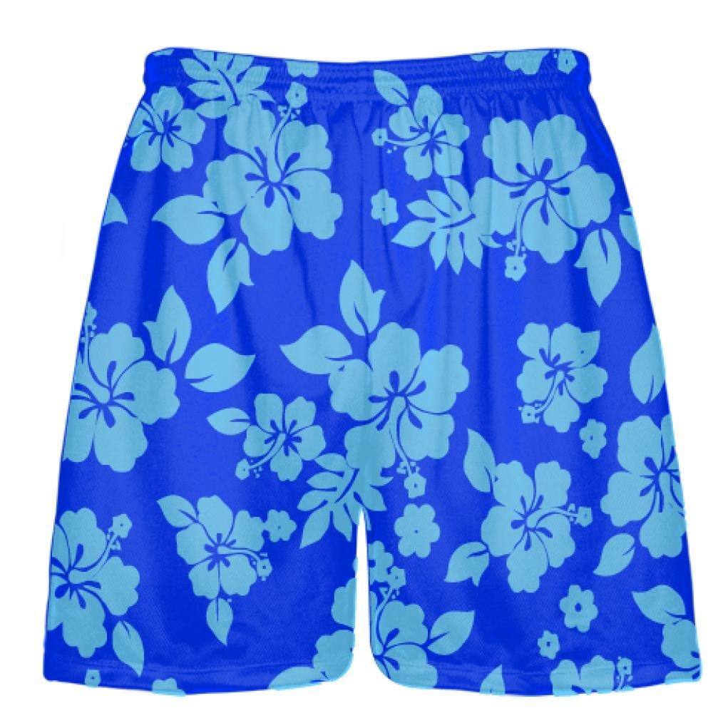 Youth Light Blue Royal Blue Hawaiian Shorts Accent Youth Blue