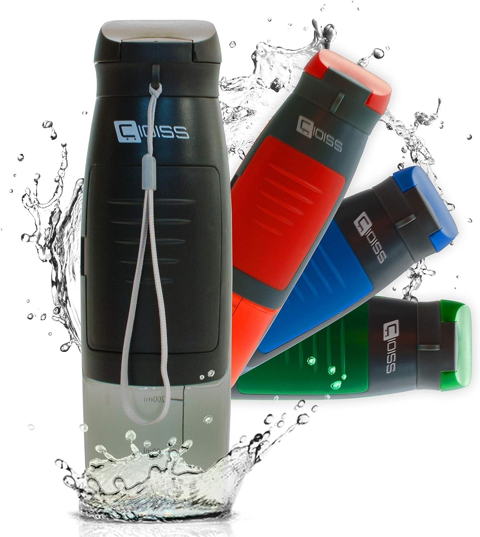 CIOISS - Botella de agua lavable con bolsillo portaobjetos de plástico, sin bisfenol A, transparente para niños, gimnasio, fitness, bicicleta, deportes, oficina, viaje o como regalo