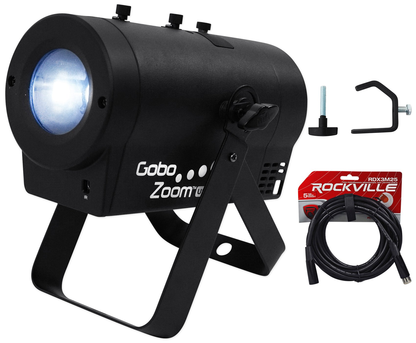 Chauvet DJ Gobo Zoom USB Custom Gobo Projector Light W/10 Gobos+Clamp+DMX Cable