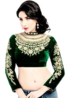c98610f95f33e7 Maharana Full Sleeve Green Velvet Saree Blouse Sari Choli Crop Top - KP-72