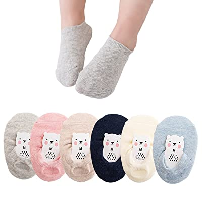 6Pairs Baby No Show Anti Slip Skid Socks Toddler Cotton Low Cut Socks for 1-7T