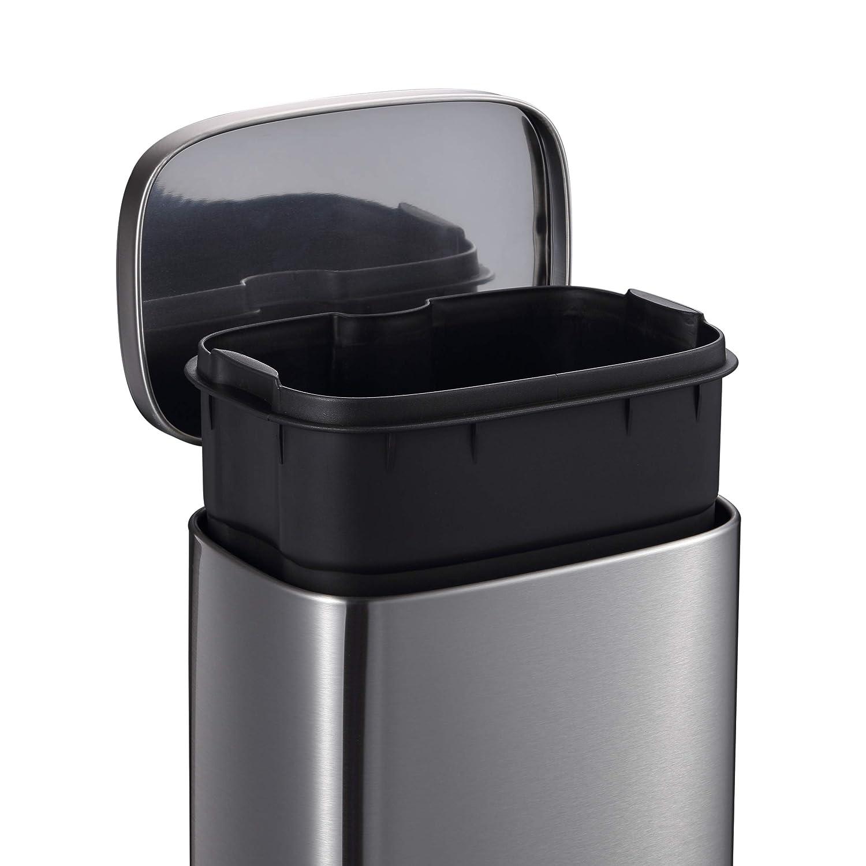Waste Disposal Bin with Pedal /& Inner Bucket Elegant looking Trash Bin with Flat Lid Bathroom Mari Home Single Recycling Bin 5L Rubbish Bin Garden Cream Waste Bin for Bedroom Kitchen