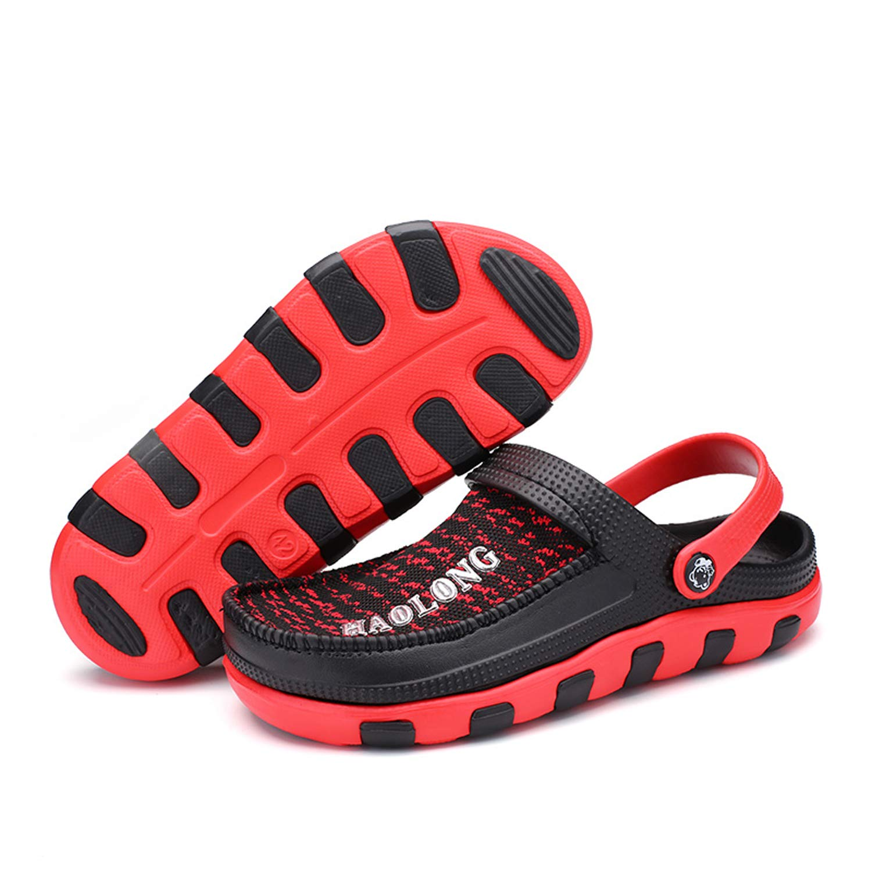 OUYAJI Men Garden Clog Shoes Beach Footwear Mesh Water Summer Slippers Sandals