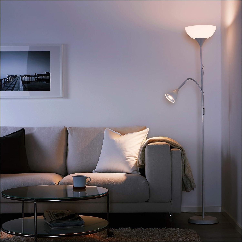 Bulbs Double Black + Bulbs IKEA Tall Floor Standing Lamp Black /& White Reading Light Uplighter NOT