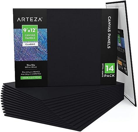 ARTEZA Paneles de lienzo negro | Tamaño 22,9 x 30,5 cm | Pack de ...