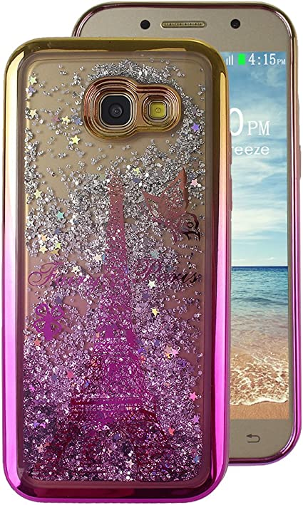 Galaxy A5 2017 Back Cover, lazo rosa purpurina líquido Agua ...