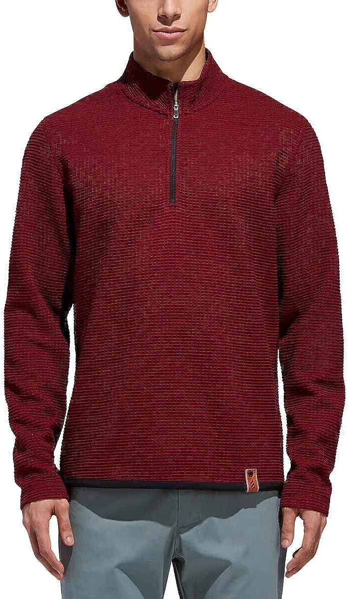 adidas Golf Men's Adicross Textured Fleece Sweater OFFicial Max 69% OFF store Zip 1 4
